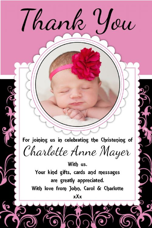 10 Personalised Girls Birth / Christening / Baptism Thank you PHOTO Cards N239